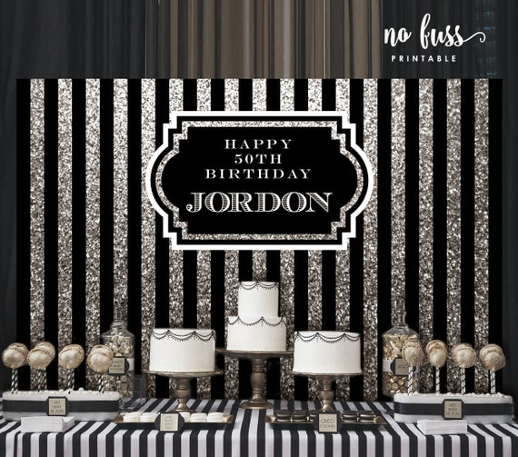 Silver And Black Backdrop Adults Party Banner Poster