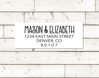 Return address label - custom- 2 5/8 x 1 inch rectangular, white photo gloss label, sticker, wedding announcements - SET OF 30