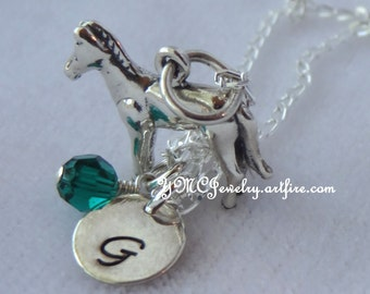 Sterling Silver Personalized Horse Necklace, Birthstone Necklace, Initial Necklace, Horse Necklace, Equestrian Jewelry