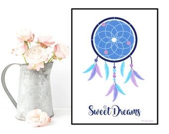 Dreamcatcher poster, Design poster, Dreamcatcher print, Inspirational poster quote, Modern design, Home wall decor, Room nursery wall decor