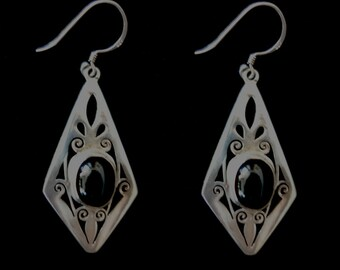 Silver Earrings w Black Star (Diopside)