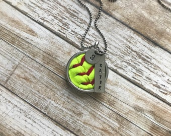 Softball Necklace - Personalized Name & Number - Hand Stamped - Softball Seams - Softball Leather - Personalized Softball Necklace - Round
