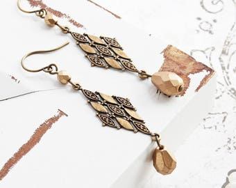 Brass Dangle Earrings, Matte Gold Teardrop Earrings with Antiqued Brass Accent, Boho Chic Jewelry (Clip On Available)