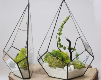Price for 2 PIECES! / Geometric Terrarium / Wall Crystal / Stained Glass Terrarium / Handmade Glass Planter / Stained glass vase