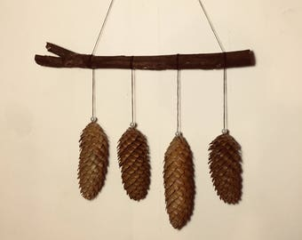 Pine cone, Pine cone wall art, Pine tree art, Woodland, Rustic, Christmas ornament, Forest decoration