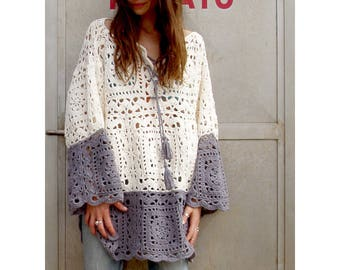 Ravenna Poncho-Sweater  - Crochet Pattern - Instant Download Pdf