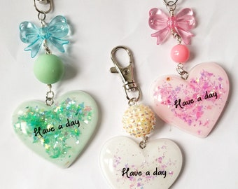 """Iridescent """"Have A Day"""" Affirmation Resin Heart Charm"""