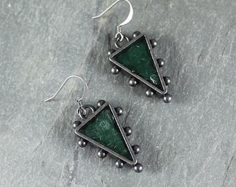 Bohemian Chic ~ Rustic Romantic ~ Green Mica earrings