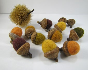 Felt Acorn Ornaments Waldorf Easter Wool Acorns Woodland Colors Felted Ornaments Spring Rustic Wedding Decor Montessori Play Nursery Decor