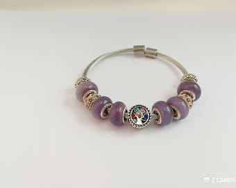 Purple charm's bracelet with tree of life charm ref 871