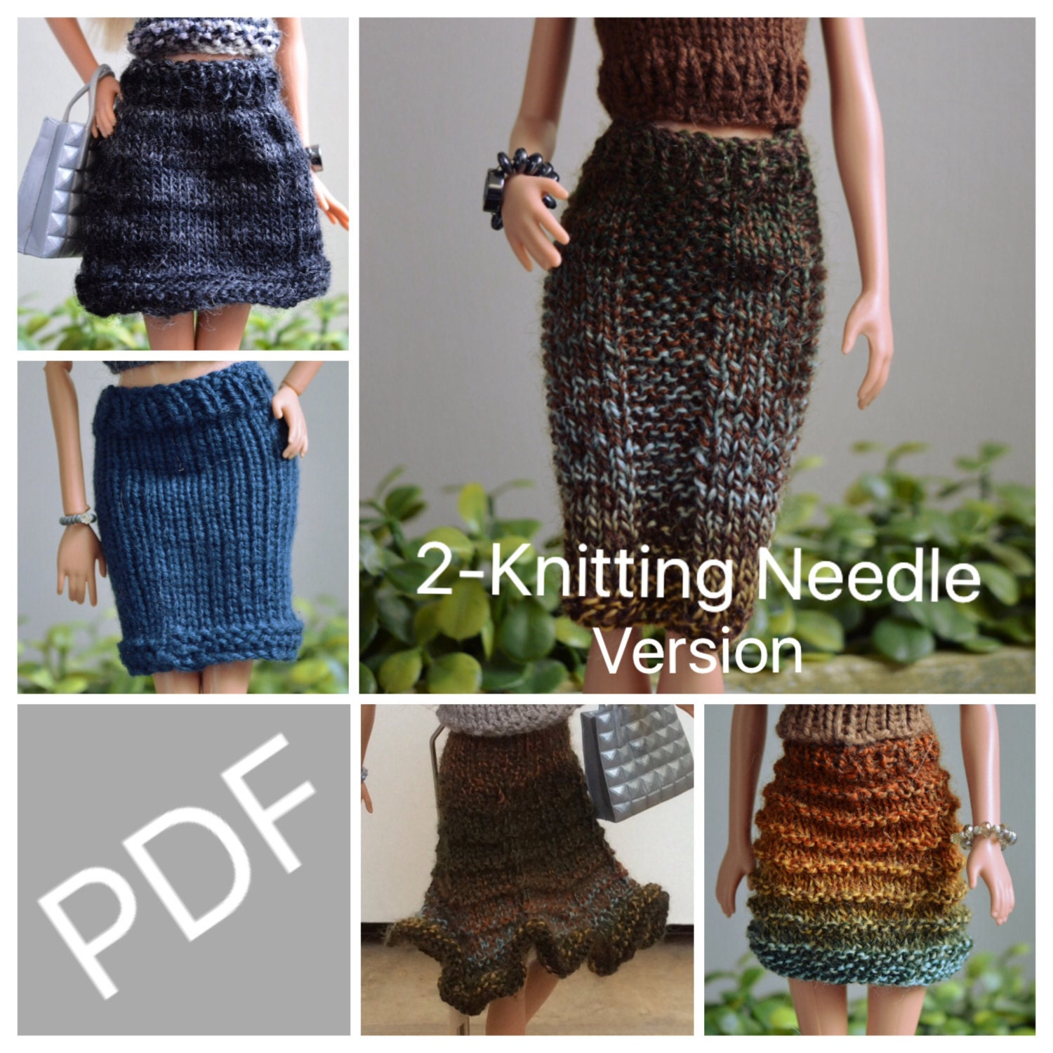 Easy Barbie Knitting Patterns for Essential Skirts 5 pack, Comes ...