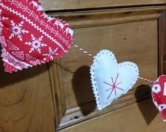 Christmas Heart Garland, Nordic Christmas garland, red Christmas bunting, Christmas tree garland, Christmas decoration, seasonal bunting