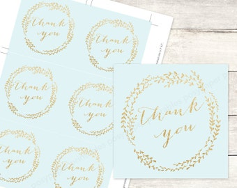 blue gold bridal shower favor tags printable DIY wedding shower favour tags blue gold glitter thank you cards - INSTANT DOWNLOAD