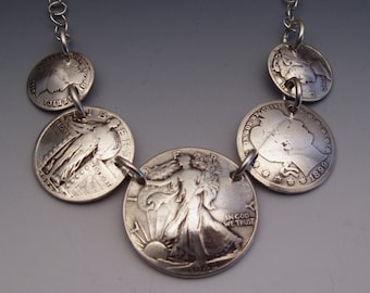 Silver Lady Coin Sampler Necklace made from 5 Vintage American Silver Liberty Coins