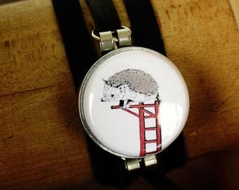 Leather Wrap Bracelet, Hedgehog Bracelet, Gift for Teen Girl, Hedgehog Jewelry, Animal Art Lockets, Hedgehog Gift, Art to Wear by Polarity