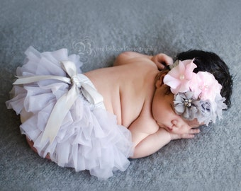 Baby Full Chiffon Ruffle bloomer and Shabby Chic Floral Headband...Hair bow and Diaper Cover...custom sizes available