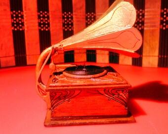 Dollhouse miniature working Art Nouveau gramophone