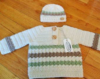 Baby Sweater and Hat, Crochet Baby Sweater, Infant Set, Handmade Baby Gift, Newborn Outfit, Baby Boy Gift, Ivory Baby Sweater, Wood Button