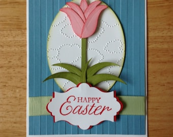 Stampin Up Easter Day card - pink tulip