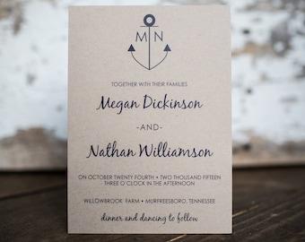 Anchor Wedding Invitation, Kraft Invitation, Nautical Wedding Invitation, Anchor Invitation - Anchor Wedding Suite : A7 Wedding Suite