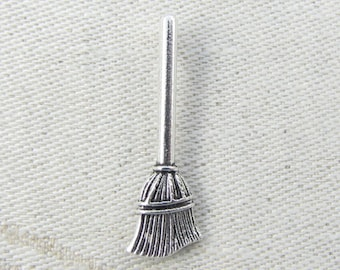 1 or 10, Broom, Broom Charm, Broom Pendant, Halloween, Halloween Charm, Magic Charm, Witches Charm, Wizard Charm, Silver Broom Charm, SFF075