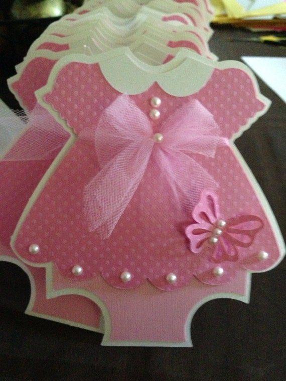 Pink dress baby shower invitations with butterfly detail like this item filmwisefo Choice Image