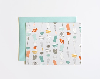 Single Card | Baker's Card, Hand Illustrated Greeting Card with Baker's Pattern | Hostess Card