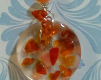 Orange glass  and resin pendant necklace and earring set. OOAK hand made design, free p&p
