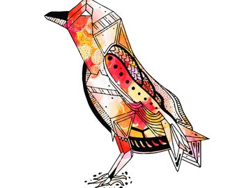 FLY HIGH || Art Print, Custom Print, Hand Drawn, Bird, Raven, Geometric