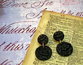 PLAIN FANCY All Black Carved Look Round Floral Drop Earrings