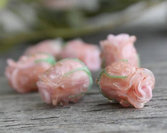 Lampwork Roses Beads, 1 pc Glass Bead, Lampwork Glass, Lampwork Flower Beads, Lampwork Flower, Rose