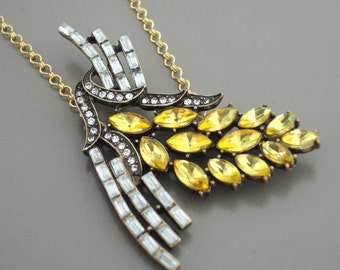 Vintage Necklace - Yellow Necklace - Rhinestone Necklace - Flower Necklace - Statement Necklace - Handmade Necklace