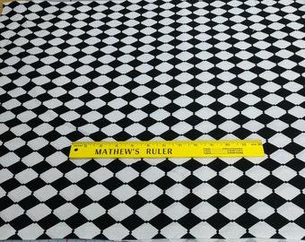 Black and White Diamonds Cotton Fabric