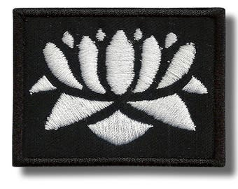 Buddhist lotus - embroidered patch, 6x4 cm
