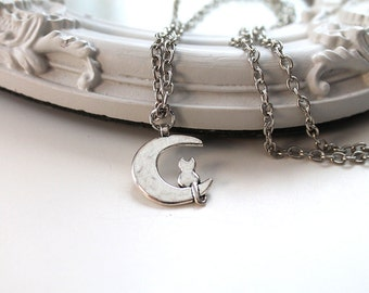 Little cat on the Moon cute simple necklace silver toned