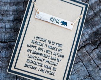 Gold Bar Mama Bear Necklace
