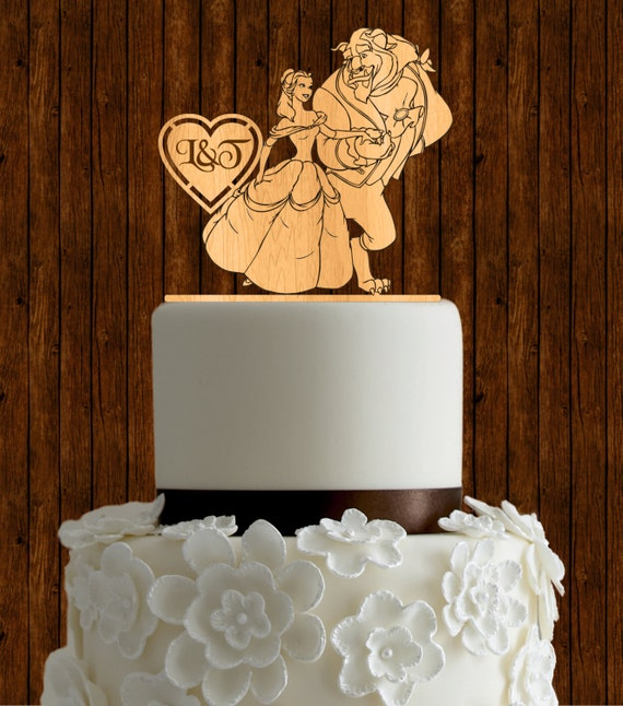 Beauty and the beast wedding cake topper / wood wedding cake