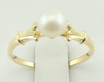 Stunning Vintage 18K Gold Pearl Ring FREE SHIPPING!  #WHT18K-SR
