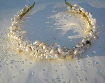 Bespoke Custom Pearl, Crystal, and Seashell Heirloom Headband - Sea Queen