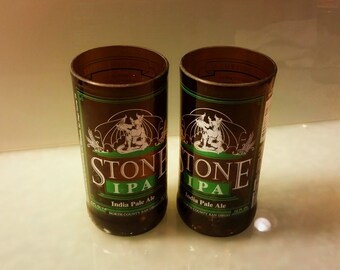 Stone Brewery IPA Beer Bottle Drinking Glass Set of 2