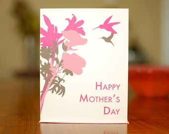 Pink & Grey Hummingbirds Mother's Day Card - Modern and Pretty on 100% Recycled Paper