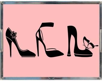 "Shoe Lover Acrylic Lucite Tray, Blush Pink/Black, 8.5""x11""/ Shoe Lover Vanity Tray / Shoe Lover gift idea / Fashion decor / Glam Decor"