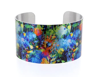 Statement cuff bracelet, wide metal bangle with abstract flowers, contemporary artistic jewellery gift for her. Secret message jewelry. C504
