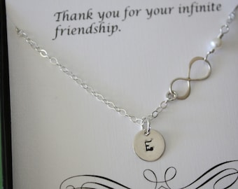 8 Bridesmaid Infinity Necklaces, Infinity Jewelry, Bridesmaid Gifts, Thank You Card, White Pearl, Sterling Silver Necklace