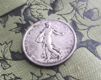 1960 5 Francs, .835 Silver, Vintage French Coin, Seed Sower