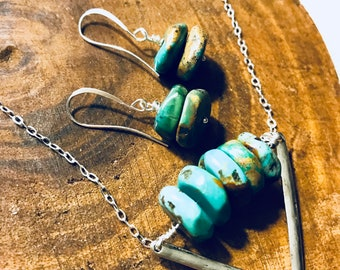 Turquoise stone stack earrings