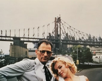 Vintage MARILYN MONROE and Arthur Miller 11x16 OLD 1950's Midcentury photo New York City With Description printed on Back