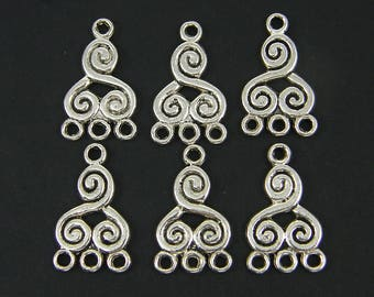 6 Pcs Silver Tribal Spiral Chandelier Earring Finding Three to One 3 to 1 Ethnic Jewelry Connector Link |LG2-4|6