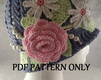 Flower Cloche Panama Hat with Leaves and Beads - 1920's and 1930's Downton Abbey Inspired - - Pattern Only