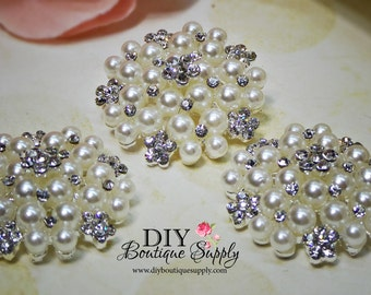 30mm Large Pearl buttons flatbacks Rhinestone buttons Crystal Buttons Big Pearl flower centers Bridal accessories 3pcs 751068